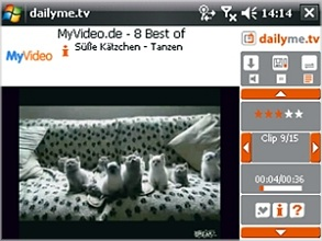 dailyme.tv auf Windows Mobile (Bild: mando.TV)